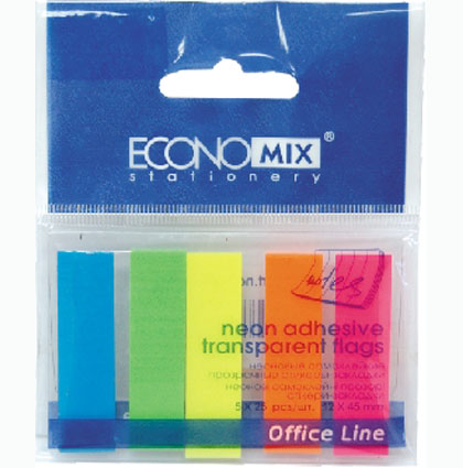 Стікер-закладки 15х45 (5х25аркушів) пластикові Economix