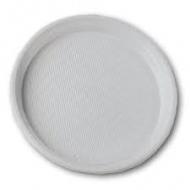 Тарілка пластикова біла D-20,5 100шт
