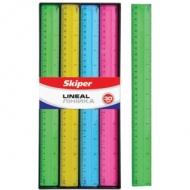Лінійка 30см пластикова кольорова Skiper