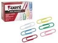 Скріпки 28мм, круглі кольорові 100шт Axent-4106
